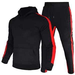 LeerKing Men's Tracksuit Joggers Hoodie Sweatshirt Pants Set Fleece Lining Gym Casual Sports Runing Suits Black
