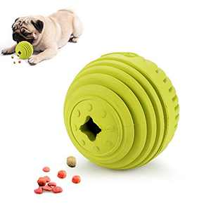 Dog Toys Treat Ball Interactive, Pet Natural Rubber Chew Toys Durable, Tooth Cleaning Ball Exercise Game IQ Training Ball for Medium Large Dogs (Green)