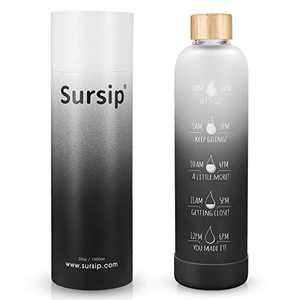 Sursip 32 oz Glass Water Bottle With Stylish Bamboo Lid Borosilicate Glass Water Bottle With 100% BPA-Free and Leakproof Bottle for You At Gym and Offices