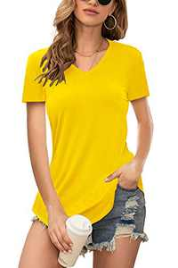 Twotwowin Women's V Neck T Shirts Casual Basic Cotton Tee Tops Yellow