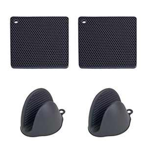 MOMOCAT Black 2 Pack Pot Holders for Kitchen Heat Resistant and 2 Pack Silicone Mini Oven Mitts (Black2)