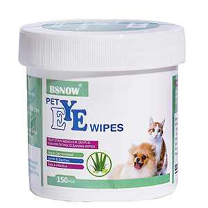 BSNOW 130 Cotton Pads Pet Ear and Eye Pet Wipes for Dogs and Cats,Non-Toxic, All-Natural Grooming Wipes, Puppy Dog Wipes Eye Tear Stain Remover Wipes,Unscented Gentle Cat Ear Wipe (Pet Eye Wipes)