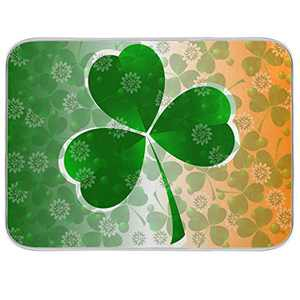 St Patrick's Day Clover Dish Drying Mat 16x18 inch Absorbent Reversible Microfiber Mat Dish Dry Pad Protector for Kitchen