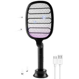 CosySun Electric Fly Swatter Bug Zapper Mosquito Killer Built-in UV light USB C Rechargeable Foldable for Indoor and Outdoor Pest Control Black