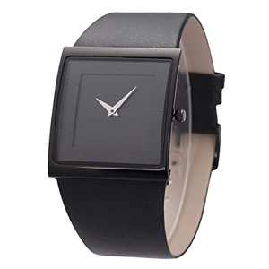 Wrist Watch Minimalist Men Square Dial Bussiness Style SIBOSUN Leather Strap Quartz Analog