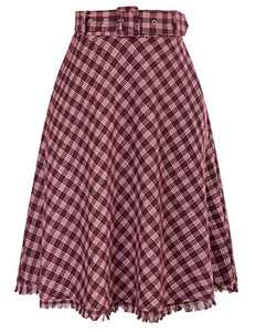 Women's Vintage Plaid Skirt Elastic Waist Wool Skirts for Fall Winter(Red,M)