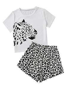 Sofia's Choice Women's Leopard Print Short Sleeve and Shorts 2 Piece Pajama Set Black White leopard M