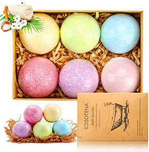 Bath Bombs Gift Set, 6 Pcs Natural Essential Oil Handmade Bath Balls, Rich in Natural Essential Oils, Sea Salt Women's Gift for Valentine's Day, Mother's Day, Birthday, Thanksgiving, Christmas