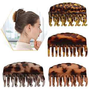 Gluytly Big Hair Claw Clips 3.5in ,Large Claw Clips,Hair claw Leopard Print Large Double Row Teeth Design Hair Clip Non-Slip Ponytail Holder for Women & Girls Strong Hold Hair Clips Catch Barrette for Thick/Thin Hair(4 PCS)
