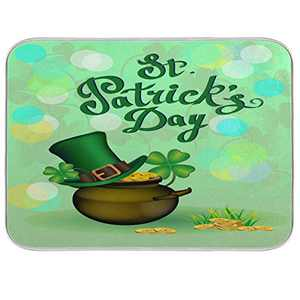 St Patrick's Day Dish Drying Mat 16x18 inch Absorbent Reversible Microfiber Mat Dish Dry Pad Protector for Kitchen