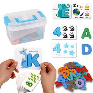 Alphabets Numbers Flash Cards Toddler, ABC Wooden Letters and Numbers Animal Card Board Matching Puzzle Game, Preschool Educational Montessori Toys Gift for Toddlers Kids Preschool and Up Years