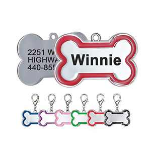 Personalized Dog Tags and Cat Tags Name Front and Back Custom Engraved Bone Shape Pink Red Black Royal Blue Green Purple Gift for Pets, 6 Colors (Large, Red)