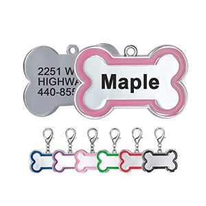 Personalized Dog Tags and Cat Tags Name Front and Back Custom Engraved Bone Shape Pink Red Black Royal Blue Green Purple Gift for Pets, 6 Colors (Small, Pink)