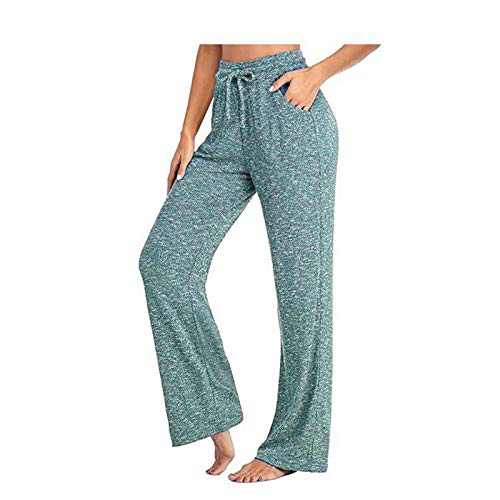 UNBRUVO Fashion Wome Casual Pants Yoga Pants Quick-Drying Tummy Control Trousers Wide Leg Pants Sweatpants (Green, XL)