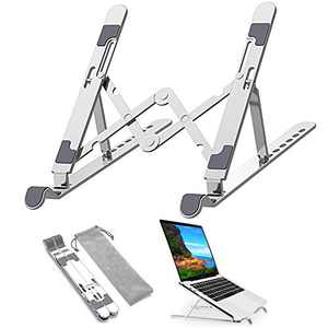 IULONEE Portable Laptop Stand for Desk, Laptop Riser Foldable Aluminum Ergonomic Computer Stand Notebook Holder Adjustable Anti-Slip 7 Angles Compatible with MacBook Air Pro HP Tablets(Silver)