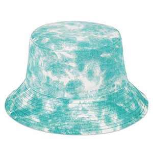 MIX BROWN Bucket Hat Unisex Wide Brim Outdoor Cap Hiking Beach Sports (Tie Dye-Green, 100% Cotton)