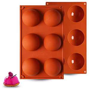 【2 Packs】Hot Chocolate Bomb Mold, 6 Holes Silicone Molds for Chocolate Bombs, Cake, Jelly, Pudding, Handmade Soap - Round Shape, Dia: 2 1/2 Inches
