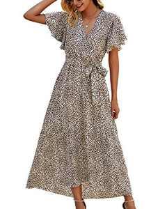 Minipeach Womens Summer Dresses, V Neck Short Sleeve Ruffle Maxi Dress Floral Wrap Dress with Belt Beige