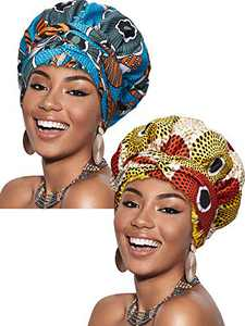 2 Pieces Satin Lined Hair Bonnet Double Layer Ankara African Print Head Scarf Headwraps Turban Hat with Long Ribbon for Women Sleeping (Classic Pattern)
