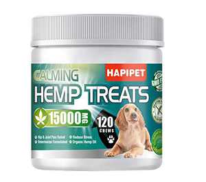 HAPIPET Hemp Calming Treats for Dogs, Premium Natural Ingredients,120 Soft Chews
