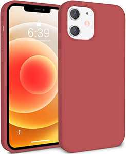 ATUAT Compatible with iPhone 12 Case and iPhone 12 Pro Case 6.1 inch, Silky Soft Liquid Silicone Case, [Snug Fit] [Screen & Lens Protection] [Shock-Absorbing] - Camellia Red
