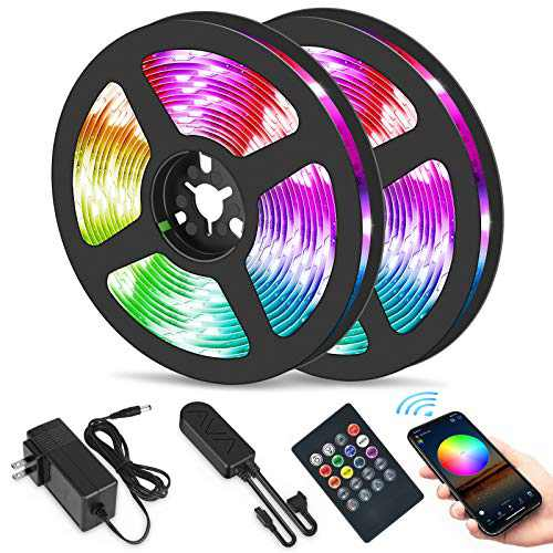 Easeking 50ft led strip lights for bedroom, 450 LEDs 5050 RGB Music Sync color change led lights with APP controller and 20 keys remote controller for home, kitchen, party and bedroom.