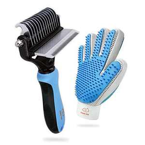 Dog Grooming Kit with 2 Sided Dog Brush and 2 Sided Dog Hair Remover Glove for Deshedding, Dematting to Clean All Pet Hair Efficiently