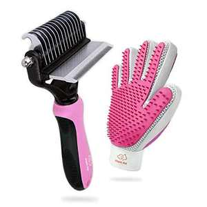 Pet Grooming Kit with 2 Sided Deshedding Brush and 2 Sided Grooming Glove, A Dog Grooming Tool for Deshedding, Dematting, Necessary Puppy Supplies or Cat Accessories to Clean All Pet Hair Efficiently