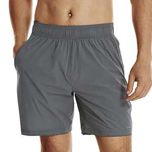 Men's Athletic Running Shorts no Liner with Zipper Pockets Grey