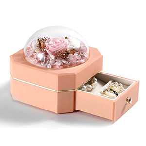 Secmote Mothers Day Birthday Gifts for Mom Preserved Real Rose with Jewelry Box, Enchanted Real Rose Flower Gifts for Mom Women Valentines Day/Christmas/Anniversary (SingleLayer-Pink)
