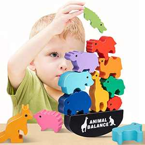 HahaGift Boys Toys Age 2-5, Animal Stacking Toys Wooden Blocks for Kids Boys Fun Toys for 2-4 Year Old Boys Gifts for 2-5 Year Old Boys Christmas Xmas Birthday Gifts Toys for Boys Kids Girls Toddlers