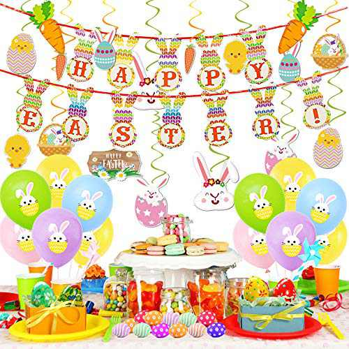 Easter Decorations Set,46 Pcs Easter Decorations Supplies Include Easter Balloons, Happy Easter Banner, Easter Eggs Bunny Easter Basket Stuffers Gifts' Easter Hanging Swirls for Home Party Decor
