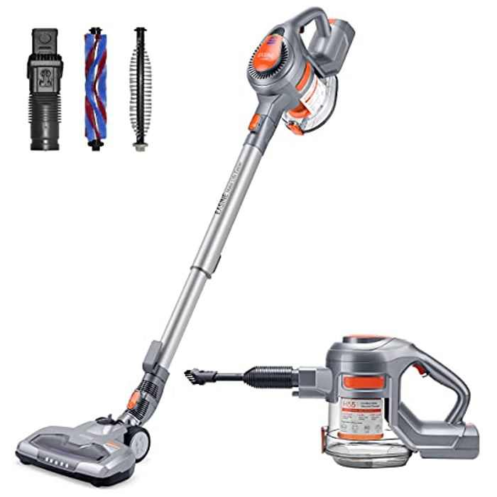 EASINE ILIFE H55 Cordless Stick Vacuum Cleaner, 4 in 1 Multiple Use, 1.3L Big Dustcup, Detachable Battery, Extention Tube, Lightweight with LED Light