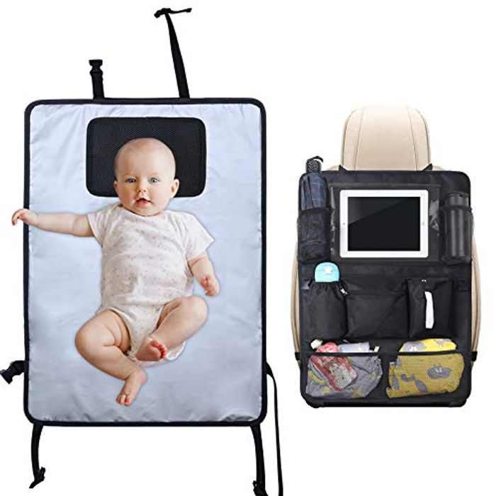 Lictin Portable Nappy Changing Mats, Back Seat Organizer with 8 Pockets, Baby Travel Changing Mats with Head Cushion, Waterproof Foldable Nappy Mat