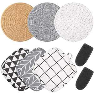 3 Pieces Thread Weave Trivets Hot Pot Holders Stylish Coasters, 3 Pieces Kitchen Pot Holders Hot Pads and 2 Pieces Hot Handle Holder Sleeves for Kitchen Cooking and Baking