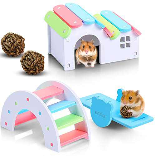 5 Pieces Rainbow Hamster Toys Set Include Wooden Hamster House Rainbow Hamster Seesaw Toy Bridge Sport Exercise Toy and Exercise Chew Grass Balls for Small Animal Gerbil Hamster Hedgehog