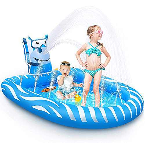Beewarm Splash Pad Kids Pools Baby Pool -Lifetime Replacement Guarantee - Toddler Outdoor Water Toys Outside - Kids Sprinklers for Yard - Summer Toys for Ages 1-12 - Swimming Pool (Small)