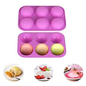 2 Packs Silicone Mould, Non Stick Half Round Shape Chocolate Mould, 6 Holes Semi Sphere Silicone Moulds for Chocolate, Cake, Jelly, Pudding