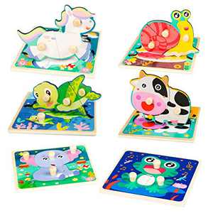 Toddler Puzzles Wooden Puzzles for Kids Baby Brain Development Jigsaw Puzzles for Boys Girls Preschool Toy