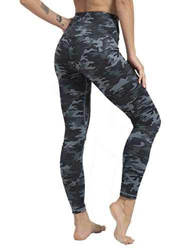 JJUQ Women's High Waist Yoga Pants Workout Leggings Tummy Control Stretch Running Leggings Deep Grey Camo-M