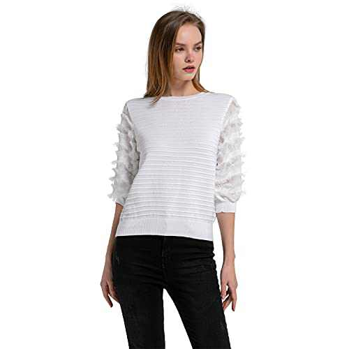 Momo Jimmy Womens Knit Pullover Fringe Lantern Sleeve Crewneck Sweatshirt Causal Loose Ottoman Stitch Top Solid Color Tunic(White)