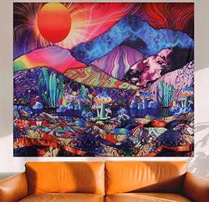 Trippy Tapestry Psychedelic Hippie Abstract Colorful Plant Tapestries for Bedroom Decoration Mushroom Cactus Vaporwave Sunshine Mountains Neon Background Wall Hanging Aestheticism Fabric Handcrafted