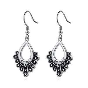 RBG Earrings Dissent Collar Earrings, S925 Sterling Silver Dangle Drop Earrings RBG Earrings Jewelry Gifts for Women Fans Of Ruth Bader Ginsburg Sliver