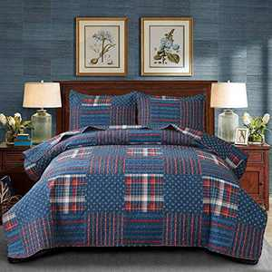 Ycosy Red Blue Plaid Quilt Set Twin White Dot Tartan Bedspreads Red Bed Covers Reversible Plaid Printed Summer Quilt Thick Bed Sheet Warm Blanket Throw 2 Pillow Shams