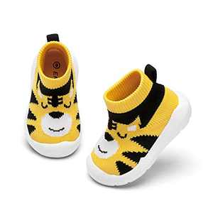 Baby Boy Girls Animal Non-Skid Indoor Slipper Infants Breathable Elastic Socks Shoes with Memory Insole Protect Toes Panda Tiger Fox