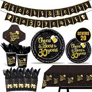 142 Pieces 30th Birthday Party Tableware Set Black and Gold Party Value Pack Including Pre-strung Banner, Tablecloth, Plates, Cups, Napkins, Spoons, Forks, Knives, Serves 20
