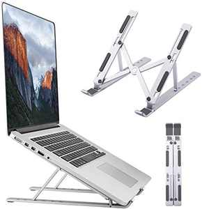 """Laptop Stand, Foldable Portable Ventilated Cooling Laptop Holder Tablet Stand, 6 Angles Adjustable Aluminum Ergonomic Desktop Riser Compatible with MacBook,iPad, HP, Dell, Lenovo 10-15.6"""", Silver"""