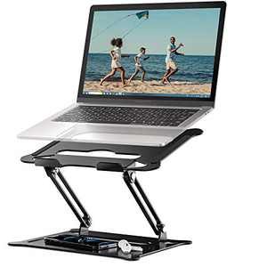 """Laptop Notebook Stand Holder, Ergonomic Adjustable Laptop Stand Portable Laptop Riser Compatible with MacBook Air Pro, Dell, HP, Lenovo Light Weight Laptops Up to 15.6"""" Black"""