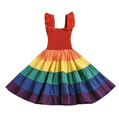 Toddler Kids Baby Girl Summer Dress Clothes Rainbow Ruffle Strap Dress Backless Princess Sundress Playwear Outfits (Multicolor, 4-5T)