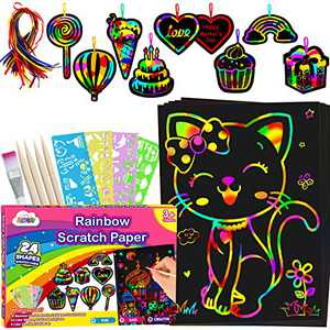 ZMLM Scratch Paper Art-Craft Girl: Rainbow Scratch Magic Drawing Set Paper Pad Board Supply Kit Toddler Project Activity for 3-12 Year Old Kid Game Toy Holiday|Party Favor|Birthday|Children's Day Gift